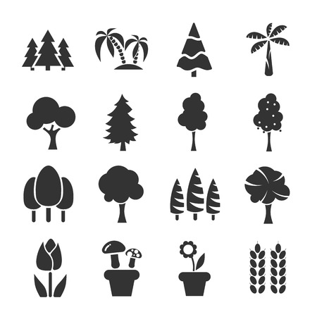 winter wheat: Tree  sign and symbol Icon Set Vector