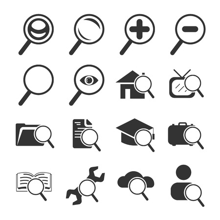 Magnifier and Search Icon Set Illustration