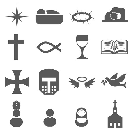 christian cross and wings: Christian Icon Set
