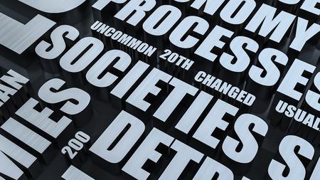 societies: Societies Metal Word Cloud Concept 3D Render