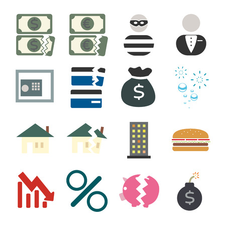financial crisis: Financial crisis Icon Set