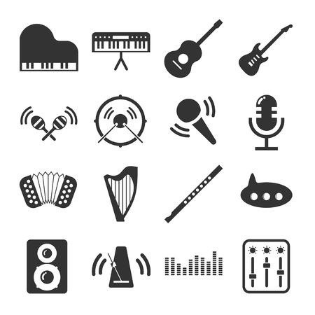 violin player: Music instruments Icon Set Illustration