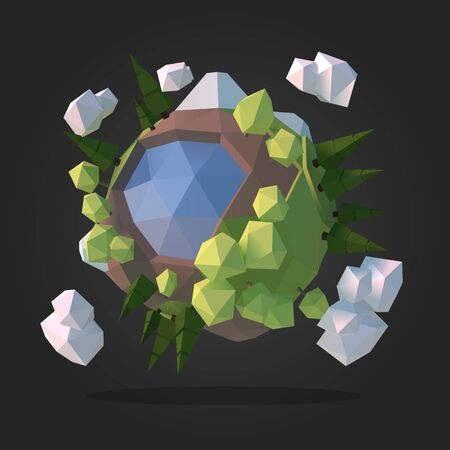 ice: Planet Earth Low Poly Geometry Vector Illustration