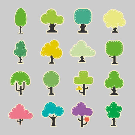 green plants: Paper tree icons Illustration