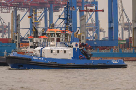 Hamburg, Germany - March 01, 2014: The tugboat Fairplay X is one of 33 fair play towages.