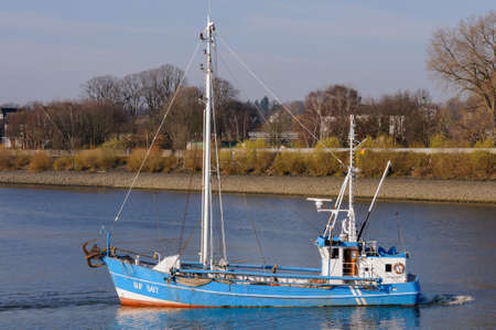 Hamburg, Germany - April 04, 2014: Eco-friendly fishing in the fifth generation with the Ostetal HF 567 cutter.