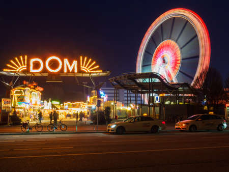 Hamburg, Germany - April 04, 2016: The Hamburger Dom, held three times a year, is the biggest public festival  in Northern Germany. Starts on March 23, 2018.