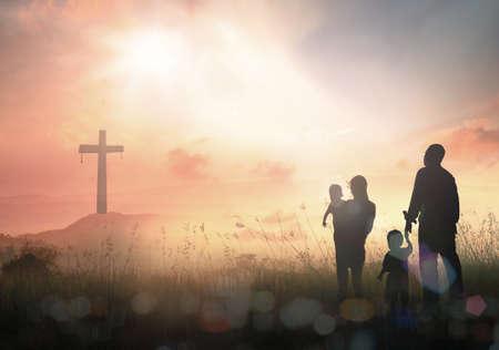 Family worship concept 스톡 콘텐츠