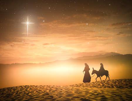 Silhouette fausse marie et joseph avec un âne sur l & # 39 ; étoile de croix fond Banque d'images - 96322698