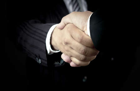 International human solidarity day concept: Two successful businessmen shaking hands after good deal Imagens