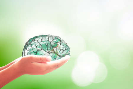 World Alzheimer's day concept. Human hands holding brain of earth over blurred nature background.