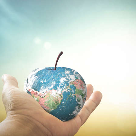 World food day concept: Human hands holding apple fruit of earth globe on blurred nature background