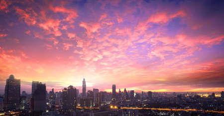 Bangkok city sunrise background. Bangkok, Thailand, Asia