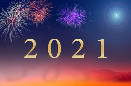 Text for 2021 over fireworks on night background 免版税图像