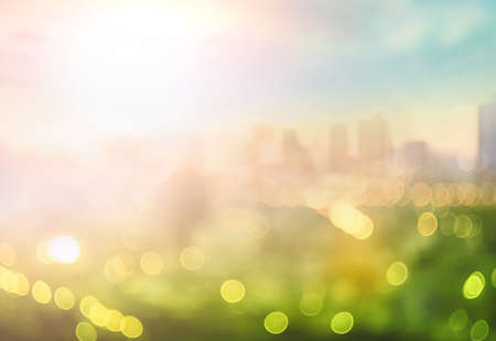 Blurred beautiful city view at twilight scene background 免版税图像