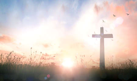 Ascension day concept: The cross on meadow autumn sunrise background