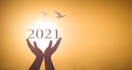 New year 2021 concept: Silhouette hands show 2021 against birds flying on blurred yellow sunrise background