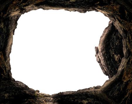 Resurrection of Jesus Christ concept: Empty tomb stone isolated on white background