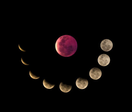 Moon phases, total Lunar Eclipse Banque d'images