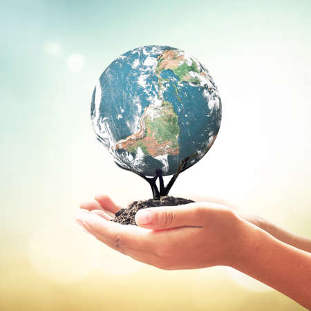 Corporate social responsibility (CSR) concept: Human hands holding tree of earth global over blurred nature background. Elements of this image furnished by NASA