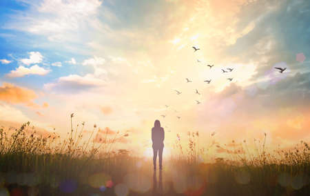 Silhouette traveler standing with birds flying on abstract of heaven background