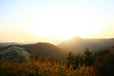 Beautiful view sunset on mountain and blue sky Stock Photo - 13907037
