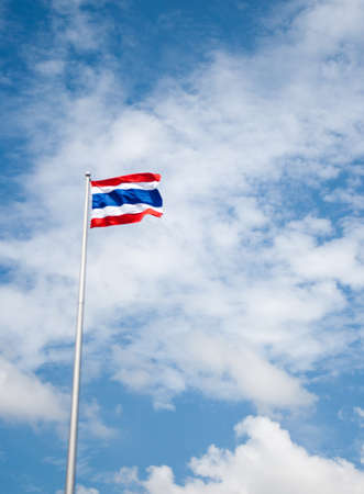 thai flag with blue sky photo