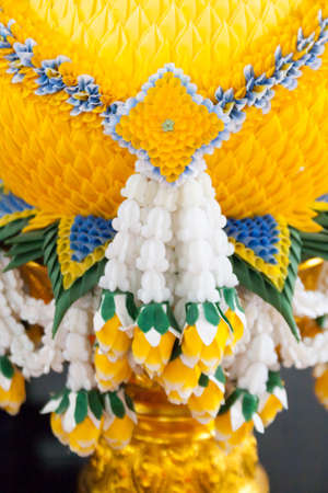malai: thai plastic wreath of flowers  malai  Stock Photo