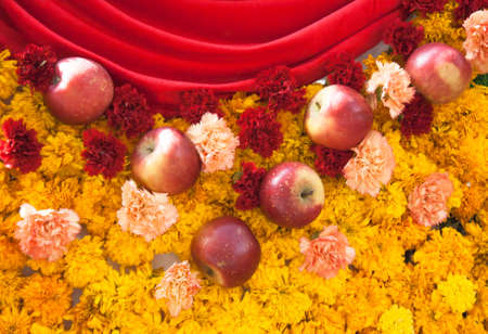 red apple and Marigold flower photo
