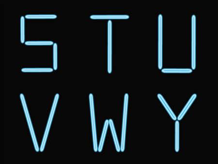 S,t,u,w,v,y alphabet blue neon  Vector