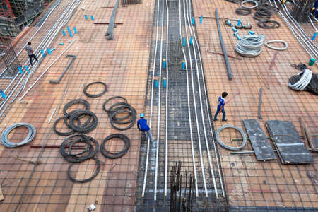 bird-view Construction site with metal and workers Stock Photo - 16506743