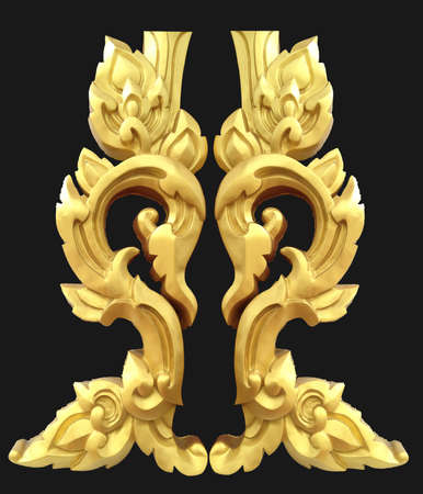 isolated abstract golden lai-Thai isolated art on black background Stock Photo - 16498294