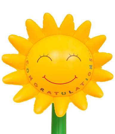 congrats gift   sunflower inflatable plastic on isolated white background Stock Photo - 16498293