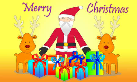 santaclause: merry christmas with smile reindeer and giftbox from santa-clause  background  Illustration