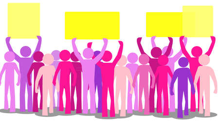 lots of colorful furious people protesting against Stock Vector - 16502675