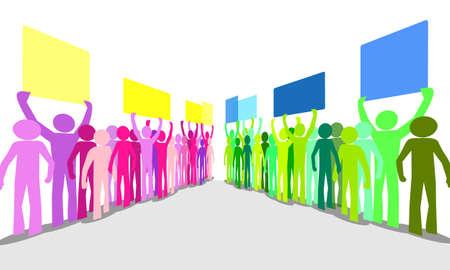activism: un mont�n de gente de colores furiosos que protestaban contra