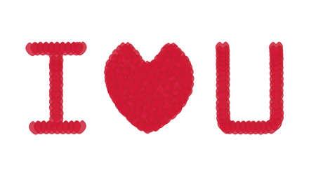 i love u: mot classique I love U avec le coeur rouge Illustration