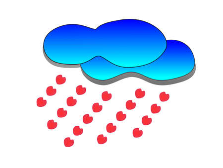 Blue clouds of red heart rain   Stock Vector - 17064216