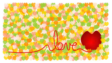 big set of Valentine hearts seamless wallpaper and I love you wording