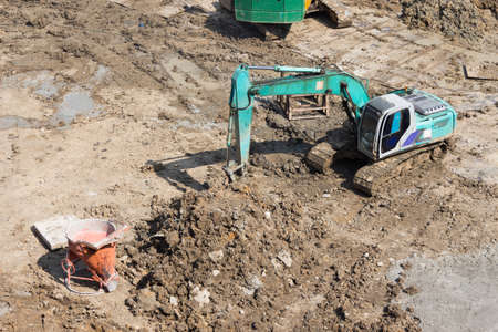 Truck backhoe Soil excavation and soil movement in construction