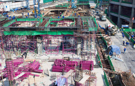 bird-view Construction site, workers work structure with cement Stock Photo - 17436438
