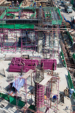 bird-view Construction site, workers work structure with cement Stock Photo - 17436437