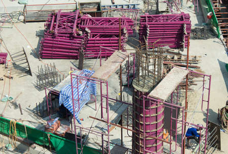 bird-view Construction site, workers work structure with cement Stock Photo - 17436426