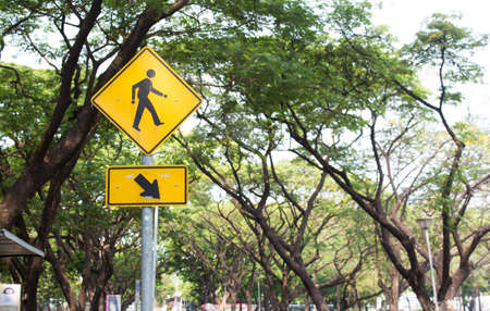 yellow man walking cross road Sign with green tree photo