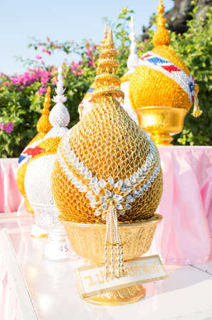 golden tray with pedestal on Thai ceremony occasion, called panpum Stock Photo