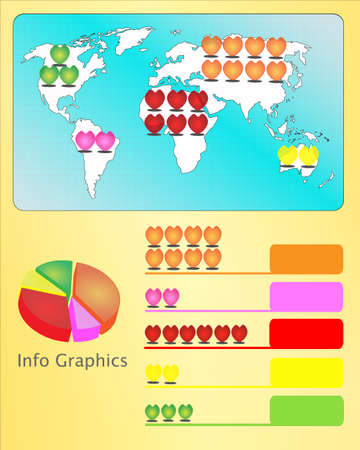 heart rate: red heart rate and world map graph info-graphic Illustration