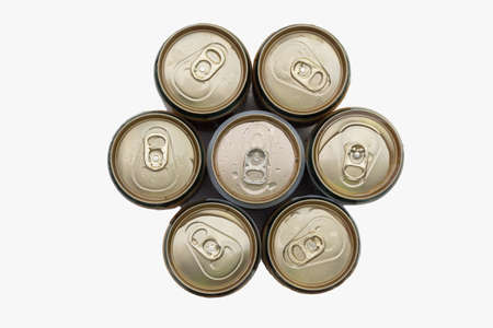 top view a isolated aluminum beer cans and clover on white background photo