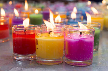 candle wick: colorful burning candles