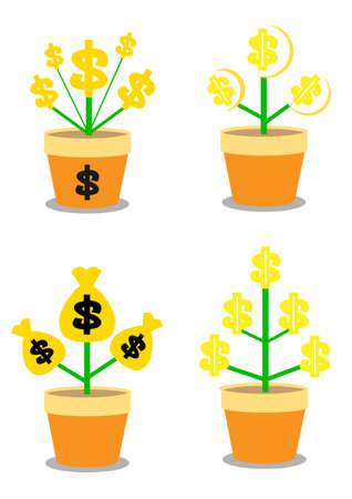 increment: Golden coins money growth in flower pot