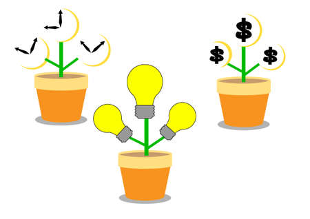 bank branch: time money idea growth in flower pot